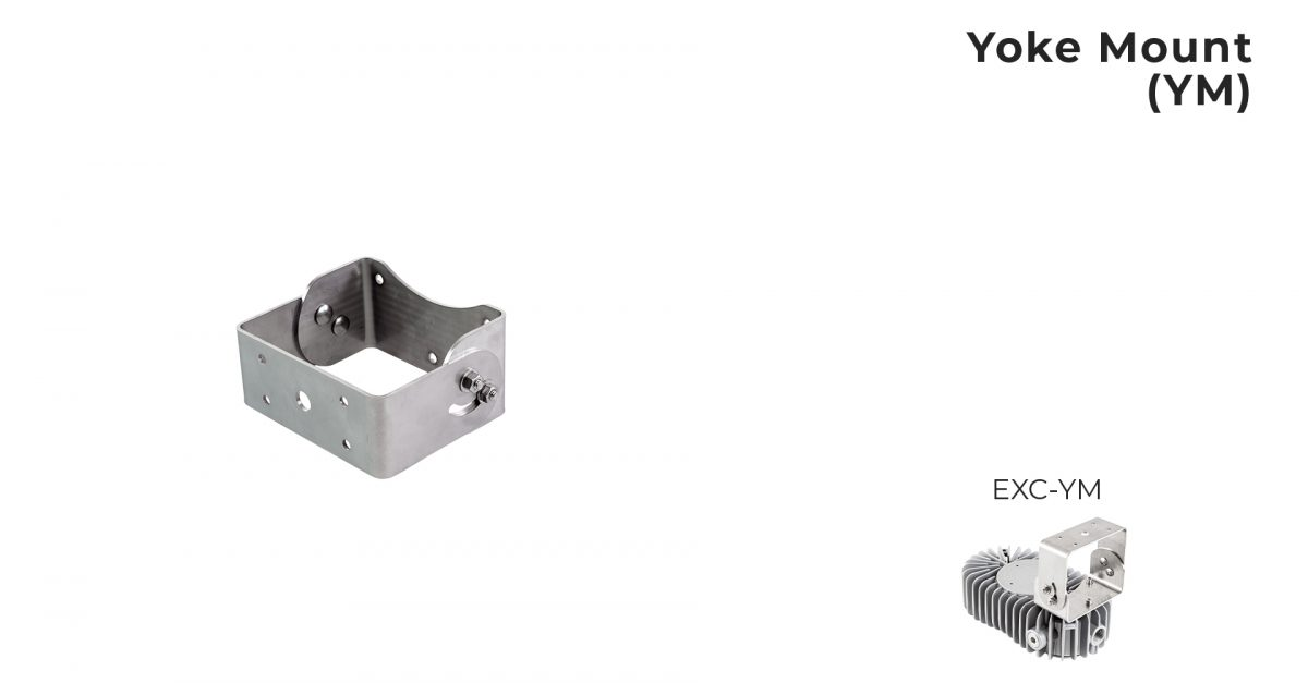 Yoke mount bracket for Nemalux EXC series low profile explosion proof industrial LED luminaire, IP66 and hazardous location class I div 1 and 2 (c1d1,c1d2) approved