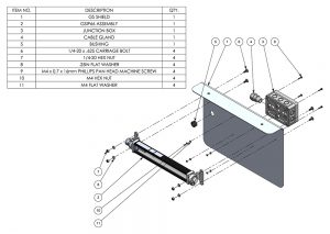 GS-Shield installation diagram for marine bullrail applications to prevent light pollution into water