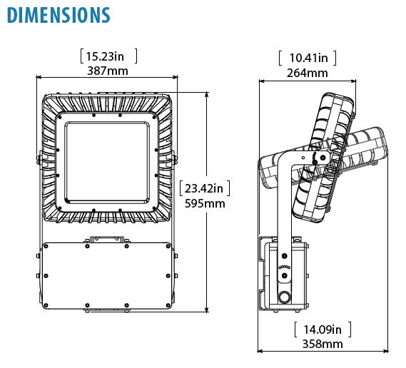 Dimensional drawing of Nemalux RS Series extreme vibration, industrial LED luminaire for area lighting, with marine, IP66 and hazardous location class I div 2 (c1d2) certifications