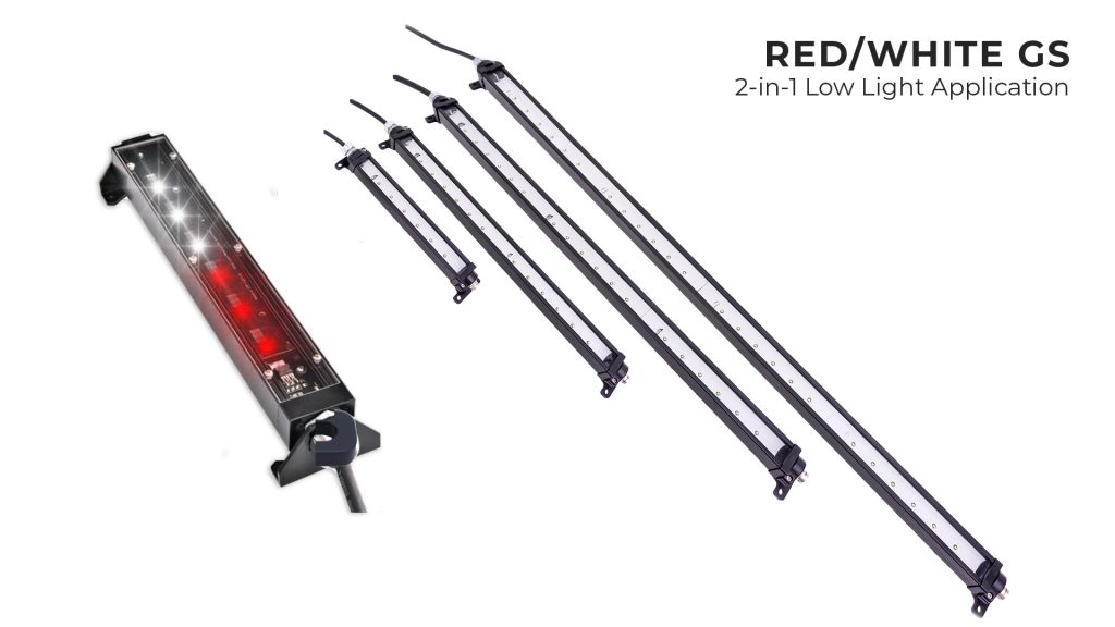 Nemalux Red White Color Changing GS Series of Industrial Low Profile, DC Linear LED Luminaire