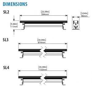 Dimensional drawing for Nemalux SL Series IP66 rated Color Changing Linear LED luminaire