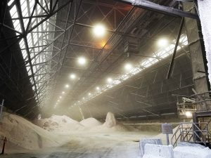 Nemalux AR Series industrial LED luminaire was selected for lighting a salt warehouse due to the AR's High degree of ingress protection, superior multi-layer coating, dust shedding design and ability to maintain optimal operational temperature for all electronics despite the presence of contaminates in the air