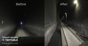 Illumination levels before and after installing Nemalux MR Series of Industrial LED Luminaires in train railway tunnel in Canadian Rocky Mountains