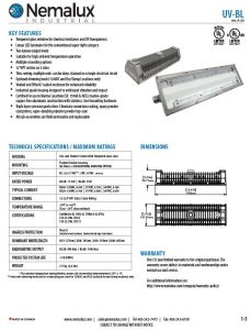 UV-BL Antibacterial series of BL linear industrial LED luminaire, marine and hazardous location class I div 2 (c1d2) approved and replacement for vapour tight fluorescent light