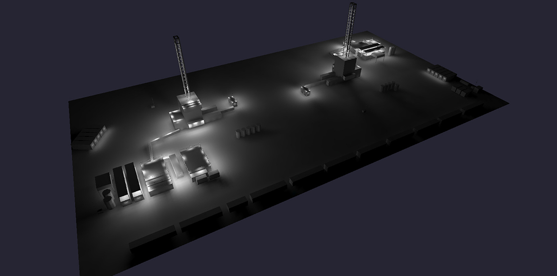 Calgary LED lighting layout for drilling rig lighting tower