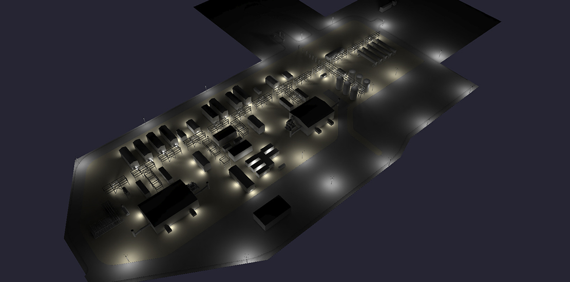 Nemalux industrial lighting case study - complimentary lighting layout design of warehouse